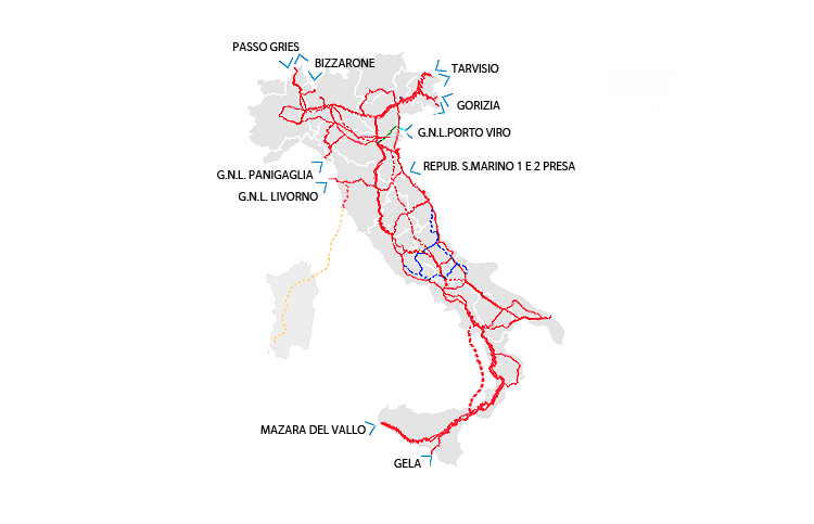 Cartina Distributori Metano Puglia.Rete Nazionale Dei Gasdotti